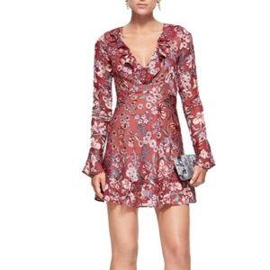 NWT For Love & Lemons Gracie Dress Berry Flora